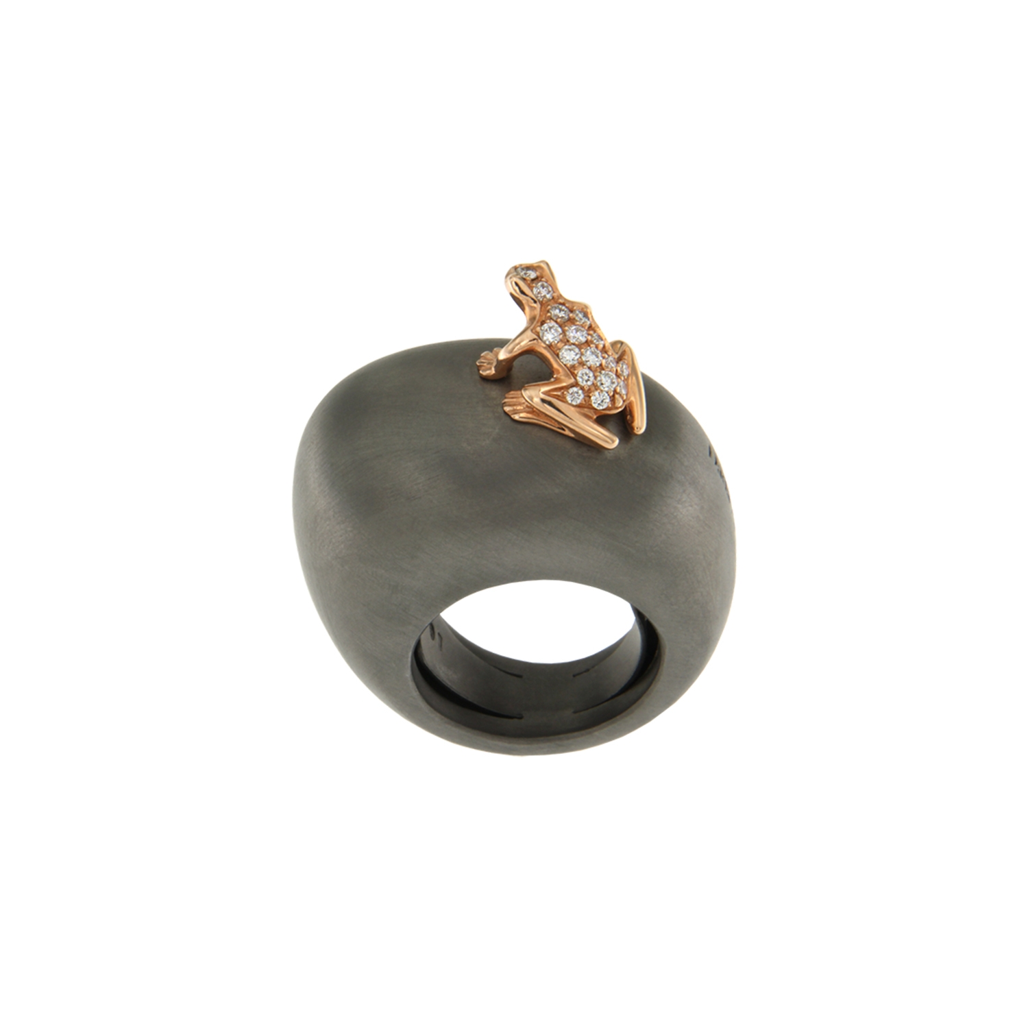 Ring in cataphoresis treated silver, 18k gold and diamonds