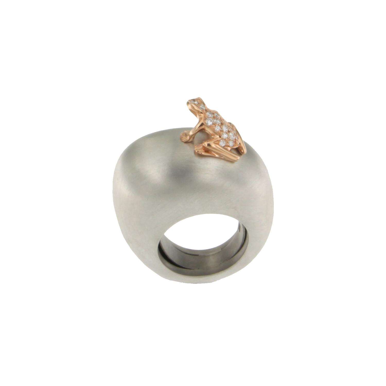 Anello base grande in argento, oro rosa 18k e diamanti