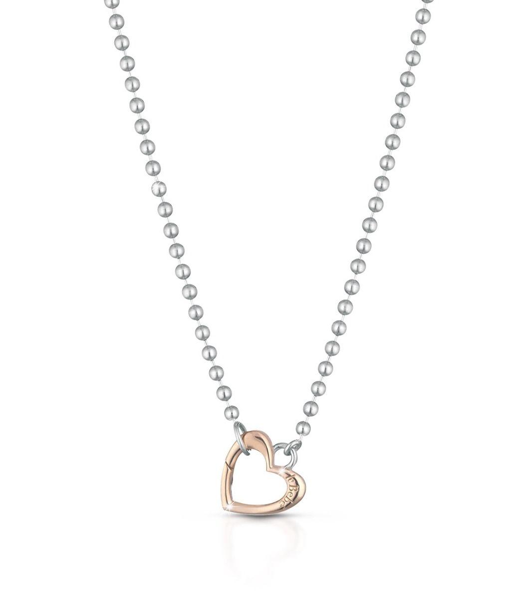 Collana Lock Your Love in argento moschettone a forma di cuore in oro rosa