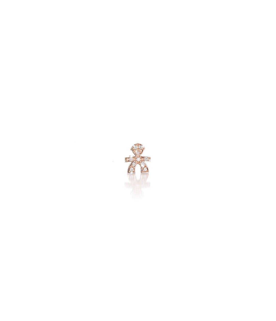 Orecchino Briciole bimbo oro rosa e pavé