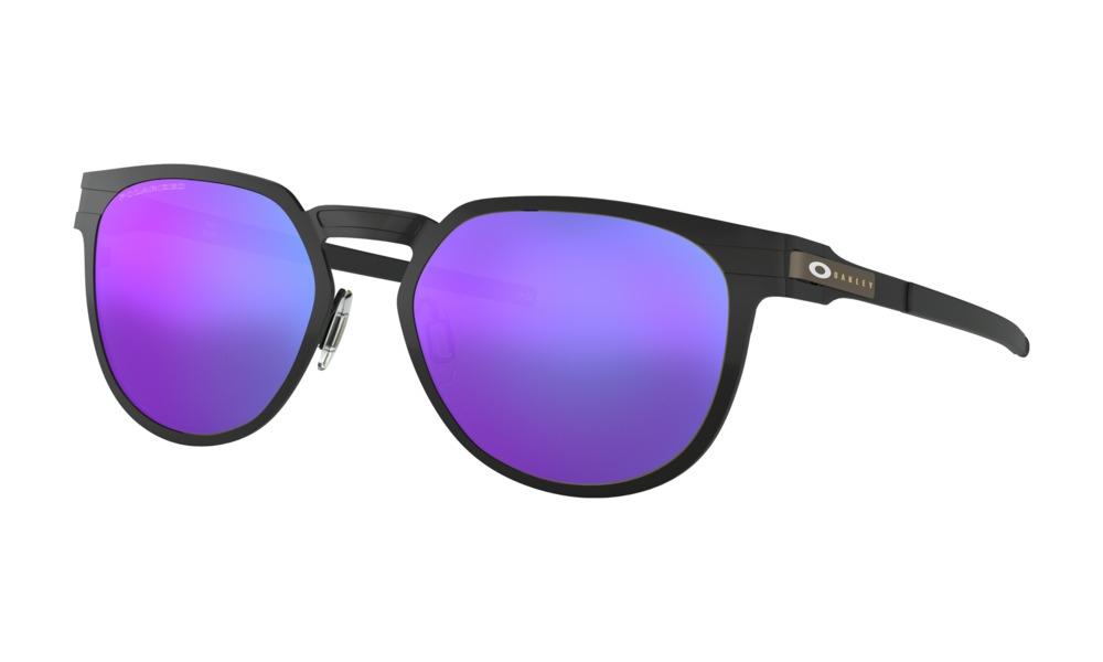 Oakley - Occhiale da Sole Unisex, Diecutter, Satin Black/Violet Iridium Polarized OO4137- 0655 C55
