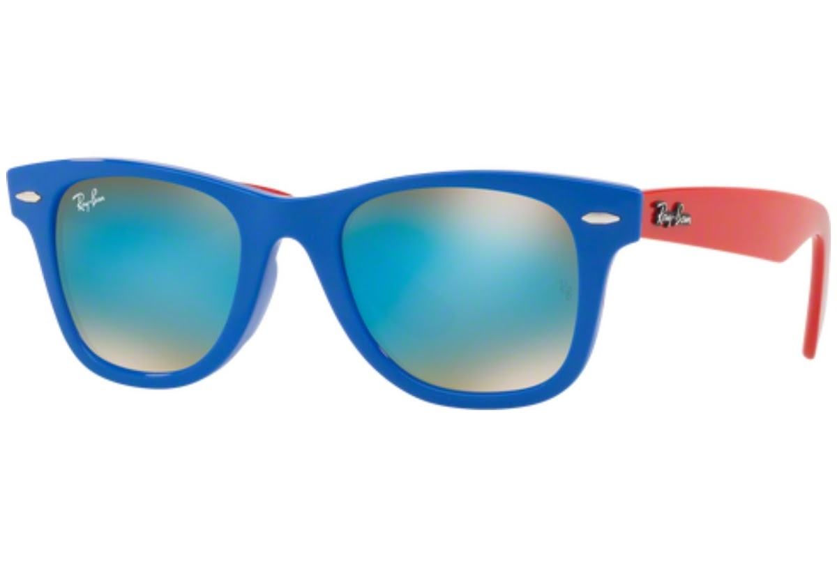 Ray Ban - Occhiale da Sole Unisex Kids, Wayfarer Junior, Matte Red/Blu Gradient Flash RJ9066S 7039B7 C47
