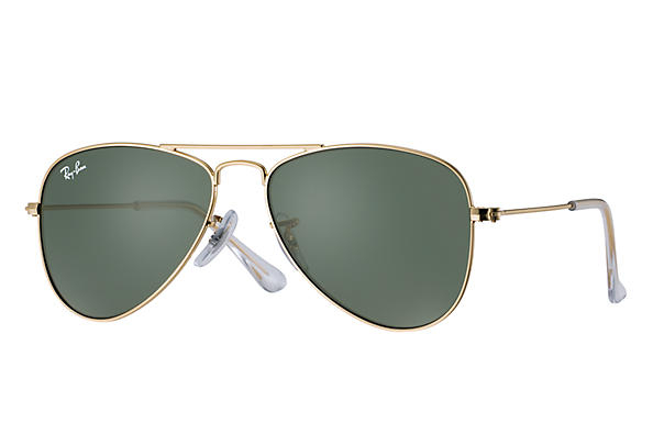 Ray Ban - Occhiale da Sole Unisex Kids, Aviator Junior, Gold/Gradient Green RJ9506S 223/71 C50