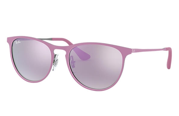Ray Ban - Occhiale da Sole Bambina, Erika Metal Junior, Rubber Grey/Pink/Purple Flash RJ9538S 254/4V C50