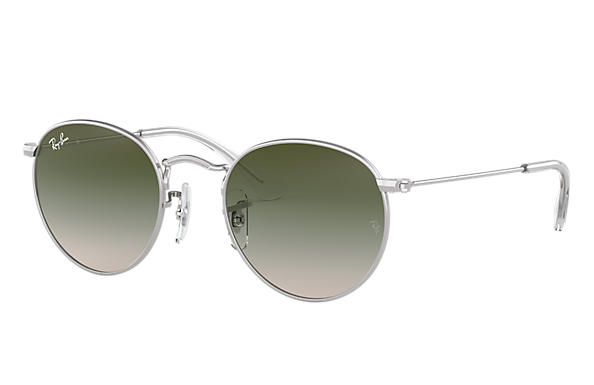 Ray Ban - Occhiale da Sole Unisex Kids, Round Metal Junior, Silver/Gradient Green RJ9547S 212/2C C44