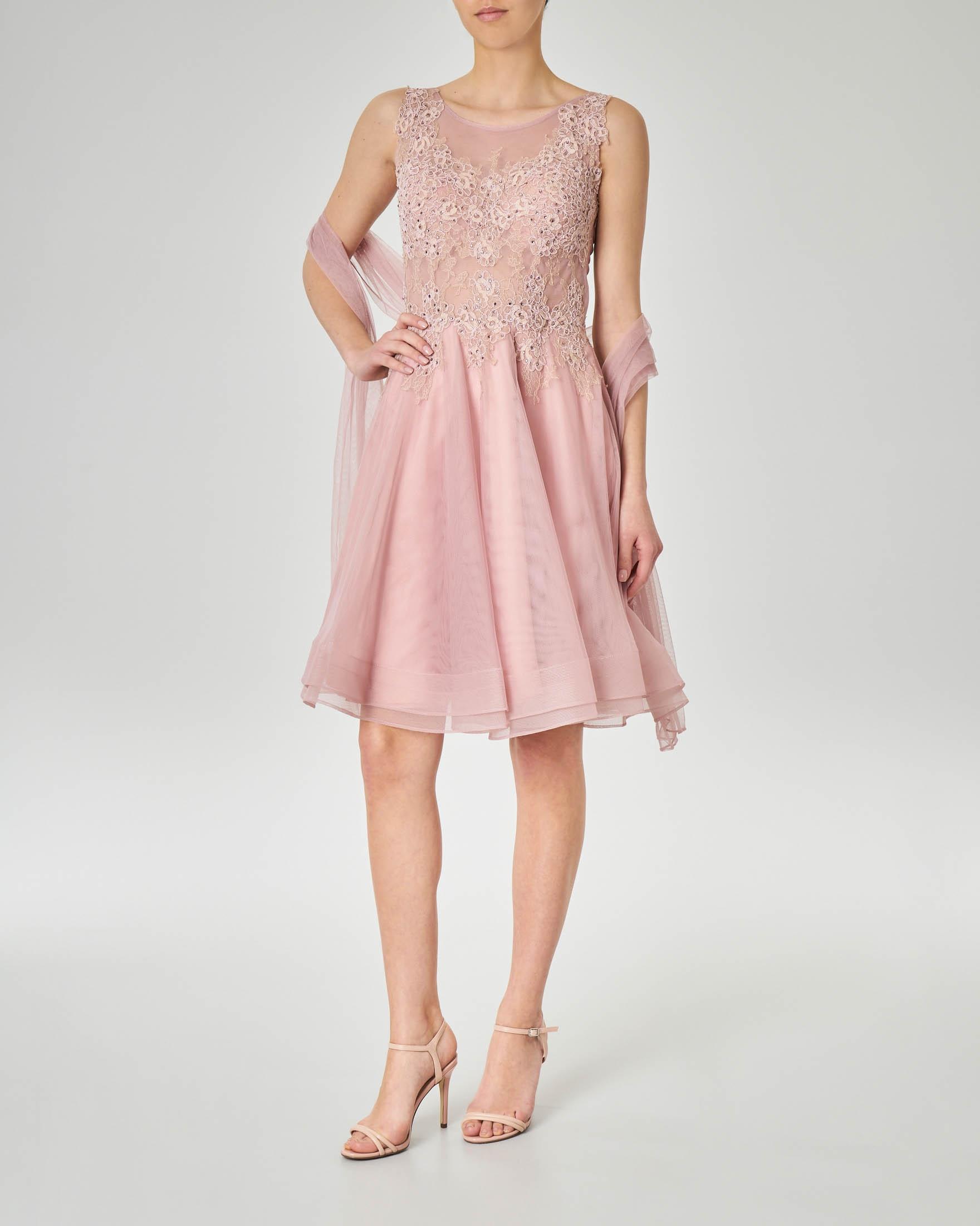 online store 40892 782b7 Abito corto rosa antico con gonna in tulle con fondo ondulato e corpetto  ricamato in pizzo