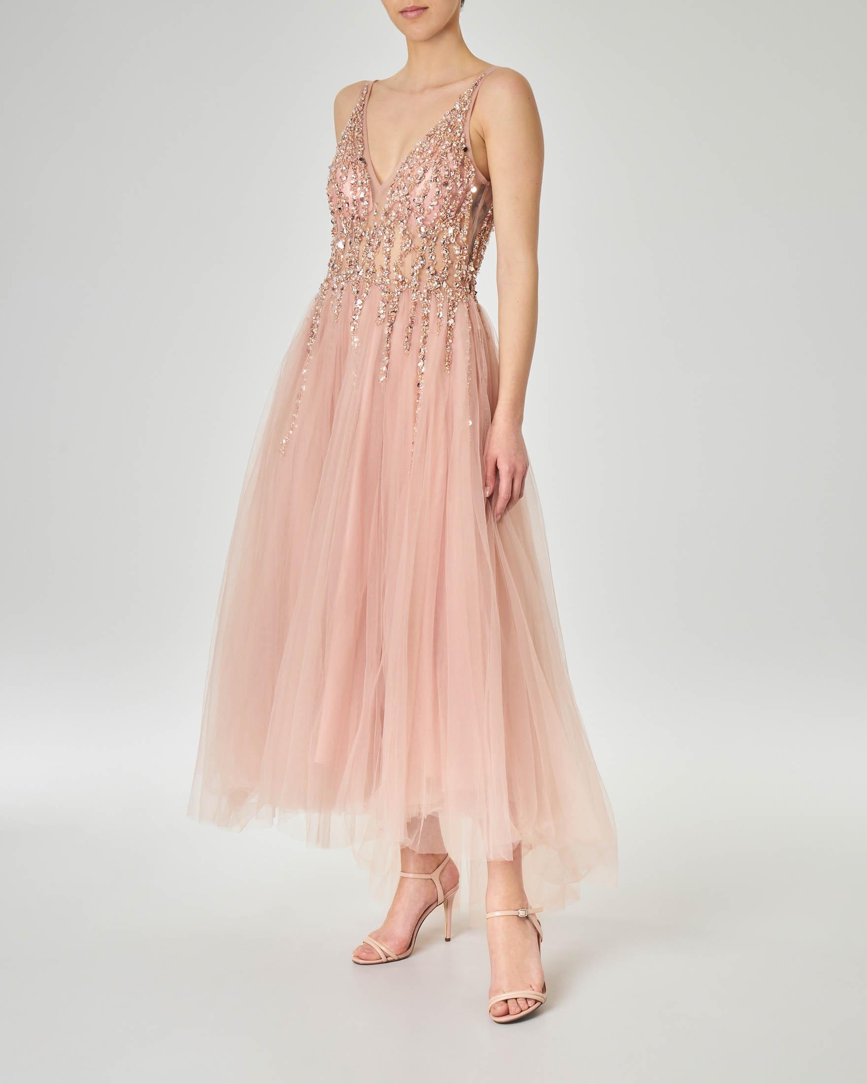 Vestiti Eleganti Rosa Antico.Abito Midi Rosa Antico Con Gonna In Tulle Con Coda E Corpetto Con Strass E Perline Applicate