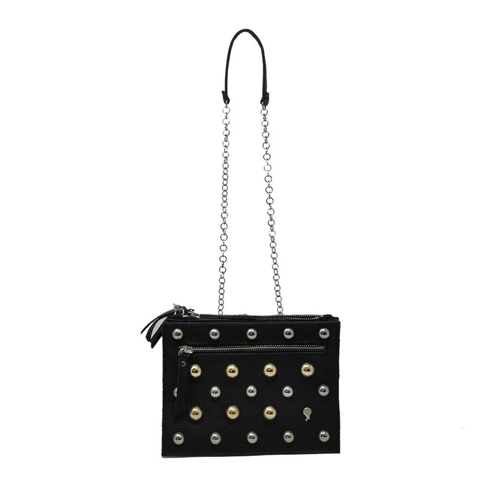 Luna Tris con borchie oro e argento in pelle colore nero - LUNA BAG