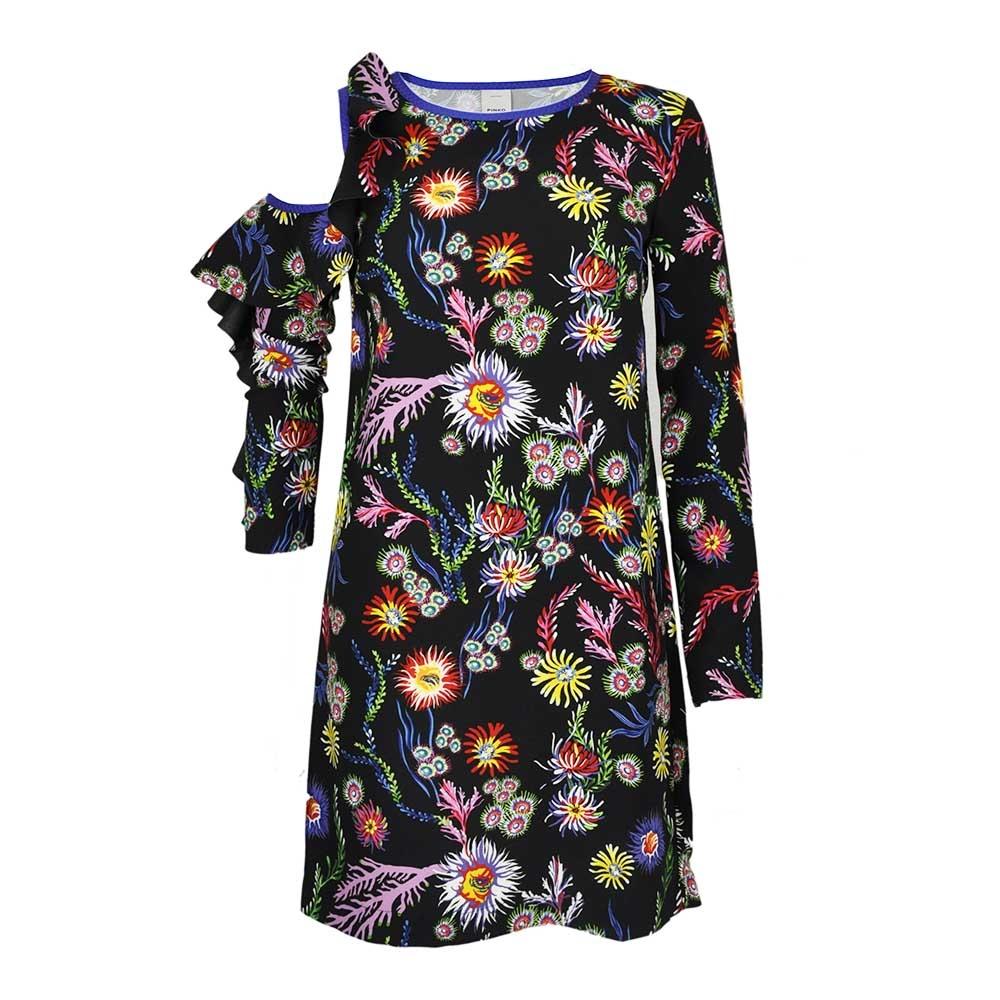 Abito nero con stampa floreale multicolor - PINKO