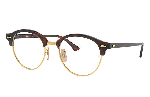 Ray Ban - Occhiale da Vista Unisex, Clubround Optics, Dark Havana - Gold Tortoise RX4246 2372 C49