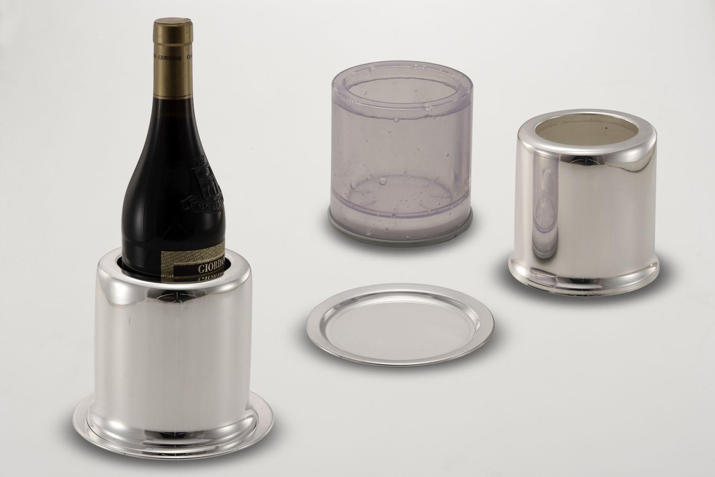 Portabottiglie liscio stile Cardinale argentato argento cm.14h diam.16