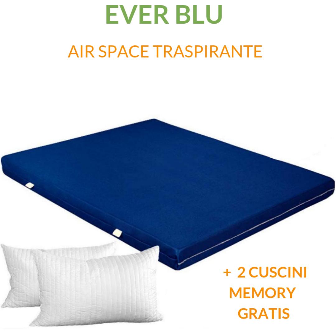 Matelas en Mousse Haut 15 cm + Coussins en Mousse Visco-élastique gratuites, revêtement en Air Space Tissu Respirant, Bleu