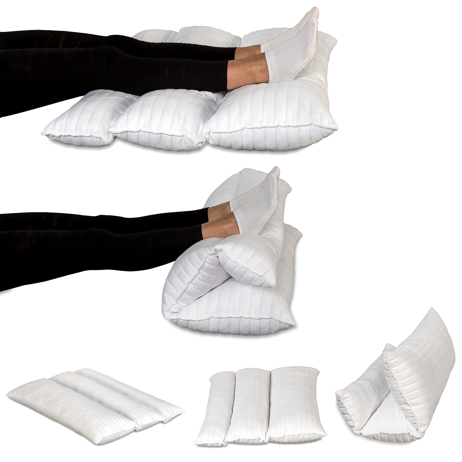 Coussin thérapeutique pliable pour jambes, pour utilisation dans lit, apaise les douleurs dorsales, à la hanche et aux jambes, améliore la circulation, dimensions plié 72 x 55 cm