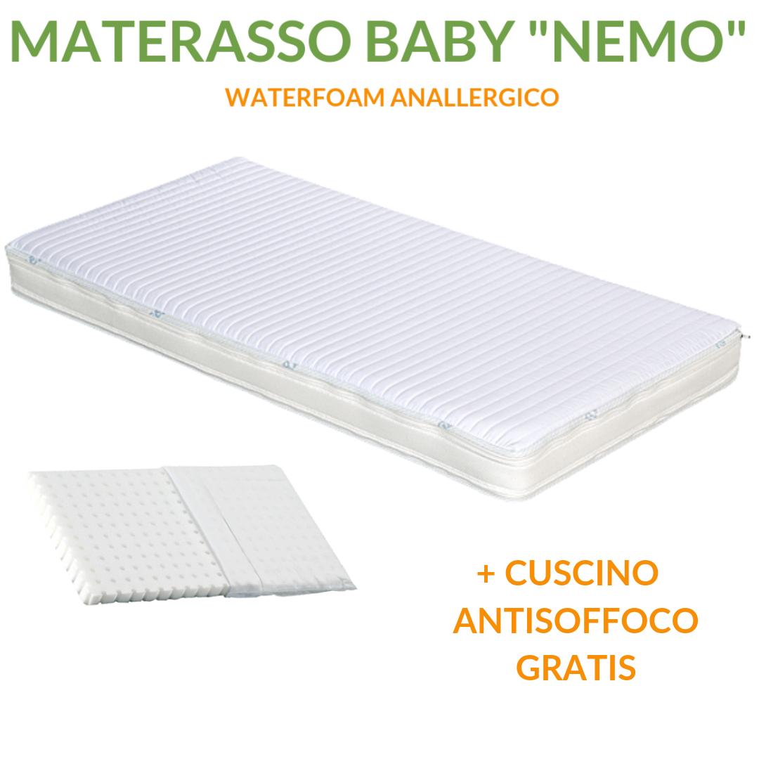Matelas lit ou berceau pour enfants haut 12 cm + coussin hypoallergénique sur mesure gratuites avec doublure en coton naturel, revêtement déhoussable et lavable en machine, orthopédique