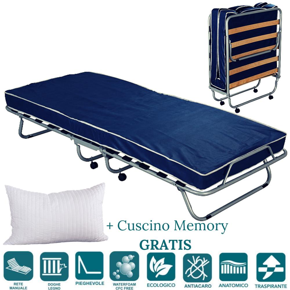 Onfortable lit d'appoint 80x190 avec matelas mousse H 10 cm avec oreillers en memoire Gratuit, sommier à Lattes en Bois et Roulette, orthopédique, invité - Pliant + roulettes