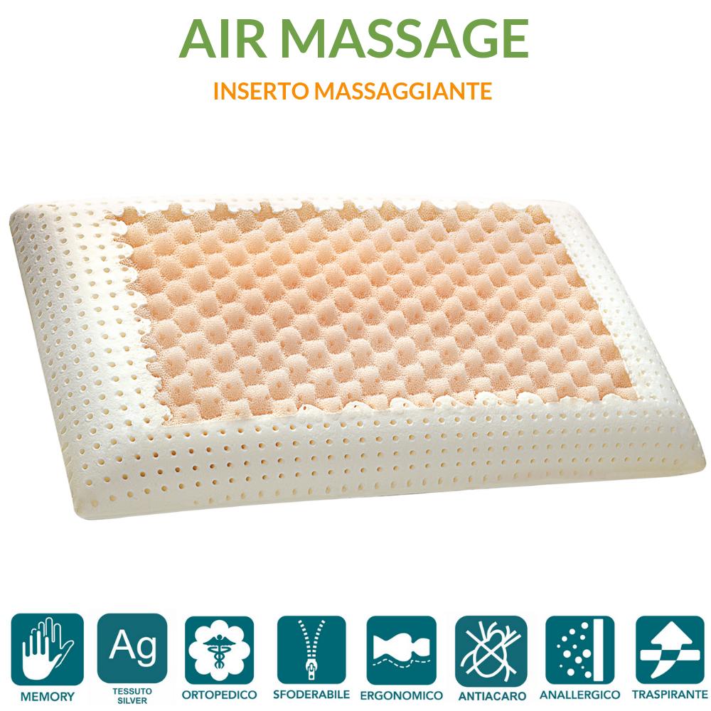 Oreiller à mémoire de Forme avec Couche en Mousse viscoélastique Massage et taie en Fibre d'argent 42x72 cm