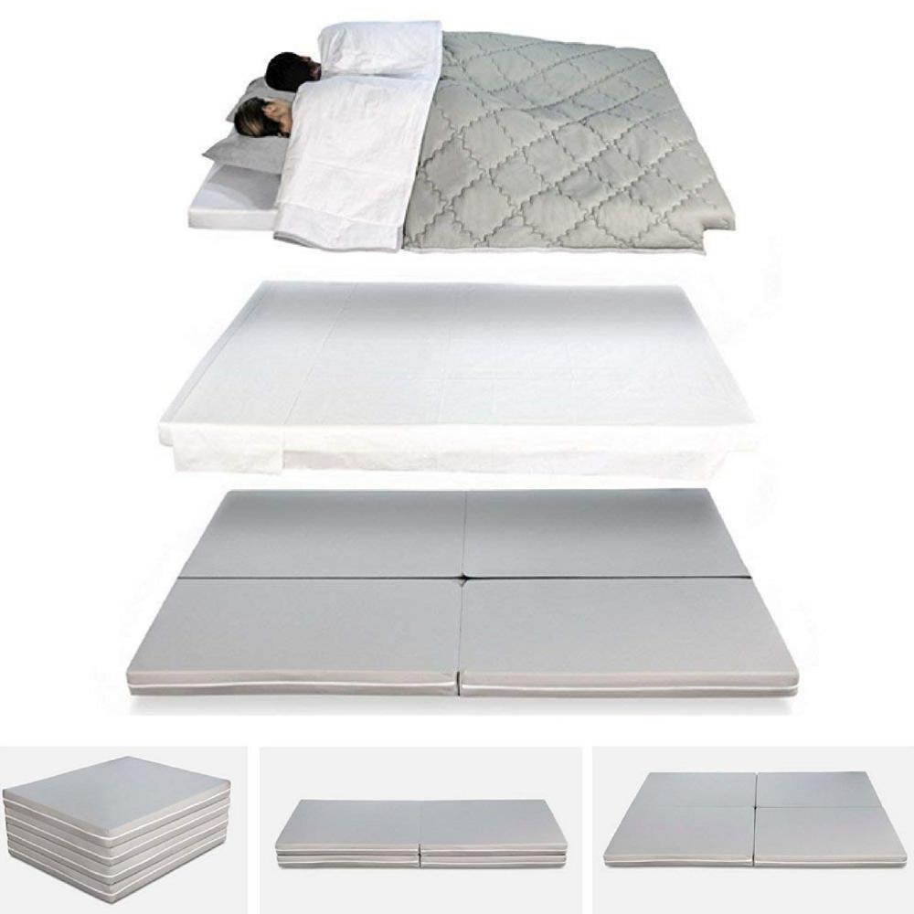 Matelas d'appoint Pliant lit d'appoint lit d'invité futon Pouf 80x200 cm Couleur Gris, Pliable épaisseur 8 cm, Housse Lavable et Amovible
