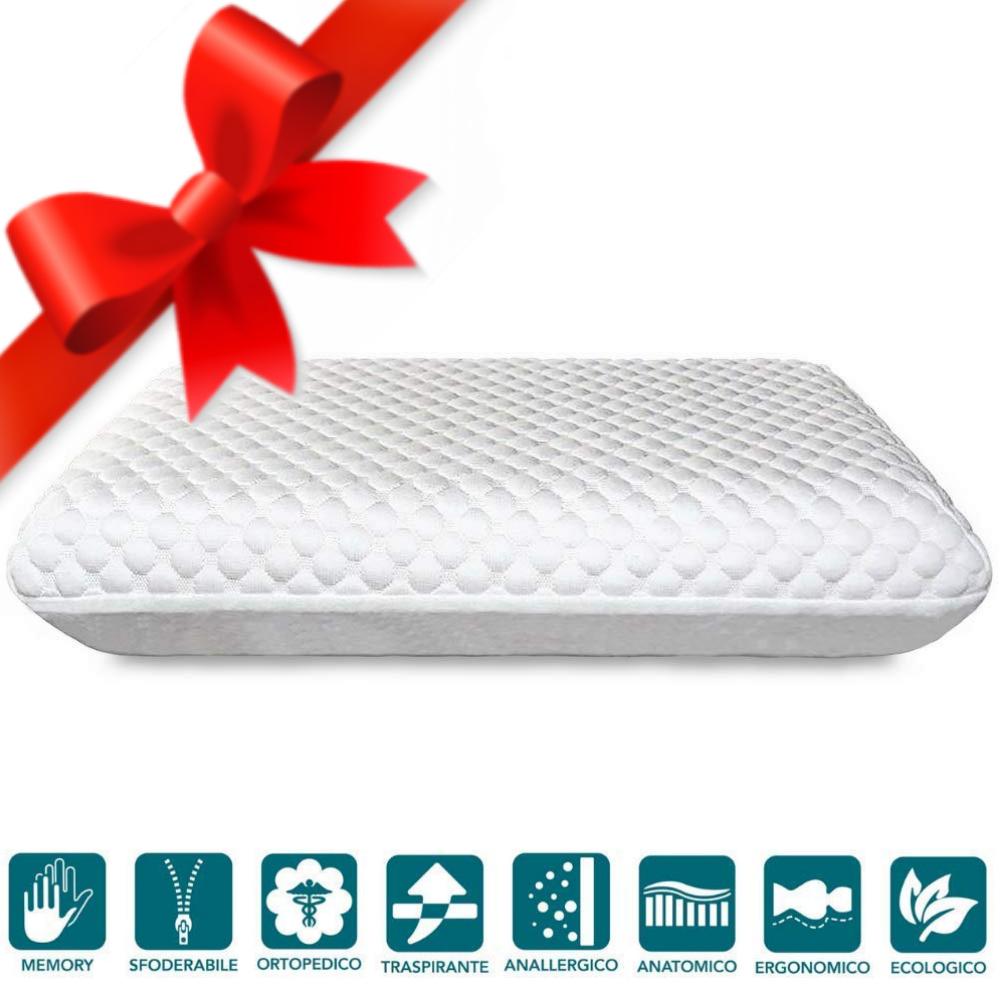Coussin memory foam Bio, modèle savon H12 cm, oreiller cervical Extra Soft Double Comfort, orthopédique, ergonomique, taie d'oreiller anti-acariens
