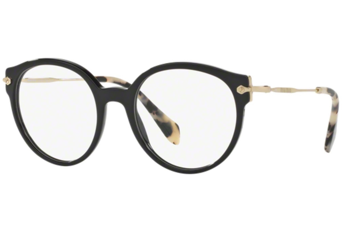 Miu Miu - Occhiale da Vista Donna, Core Collection Noir Evolution, Top Black/Gold MU 04PV 1AB1O1 C52