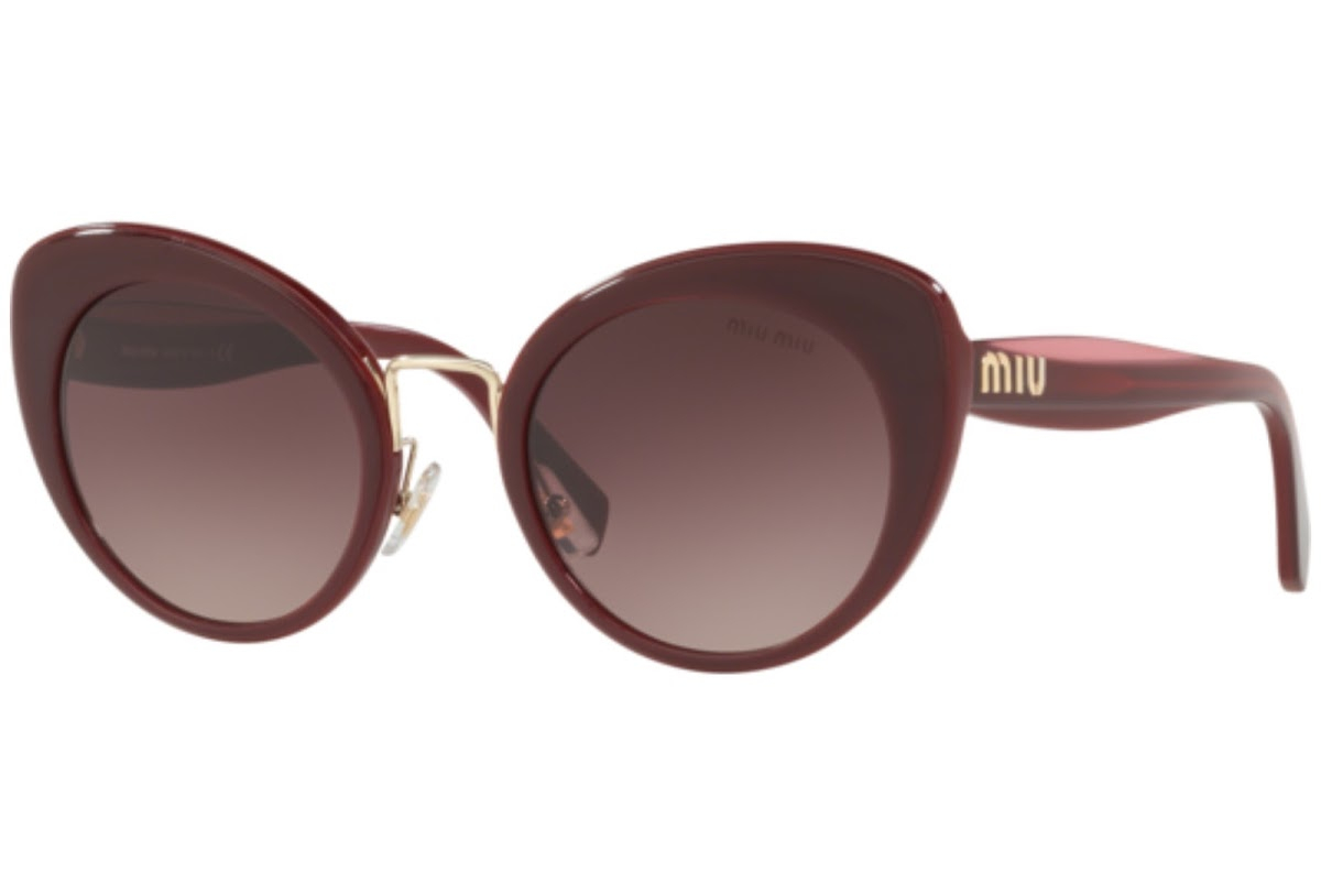 Miu Miu - Occhiale da Sole Donna, Core Collection Logo, Burgundy/ Purple Brown Shaded MU 06TS 40Z150 C53