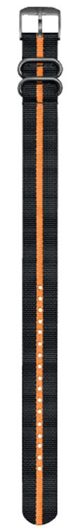 Cinturino nero e arancione in nylon stile NATO - 23mm