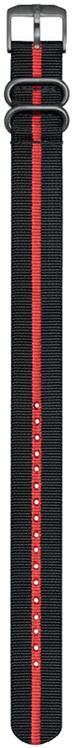 Cinturino nero e rosso in nylon stile NATO - 24mm