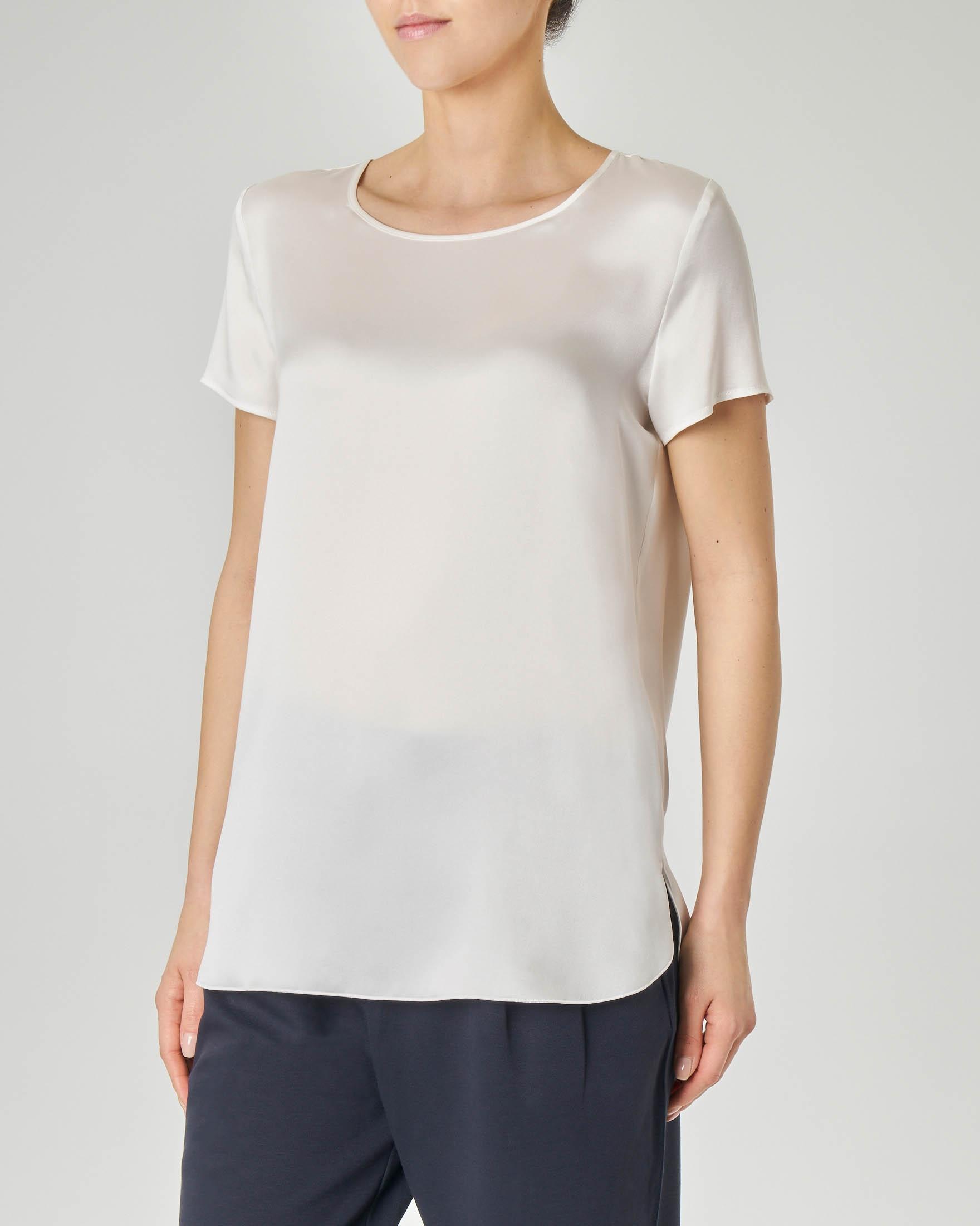 cheap for discount 95530 4dd49 Blusa in crêpe seta bianca a maniche corte