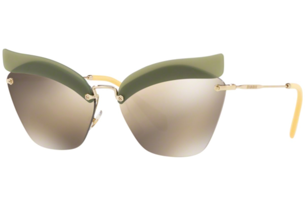 Miu Miu - Occhiale da Sole Donna, Special Project Catwalk Evolution, Green/Brown Gold MU56TS BY61C0 C63