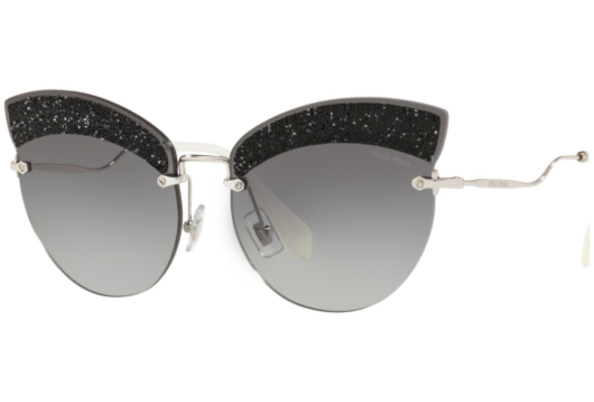 Miu Miu - Occhiale da Sole Donna, Core Collection Scenique Evolution, Silver Black/ Grey Shaded MU58TS U983M1  C65