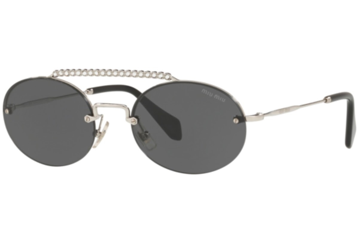 Miu Miu - Occhiale da Sole Donna, Core Collection Société, Silver/ Dark Grey Shaded MU60TS 1BC1A1  C54