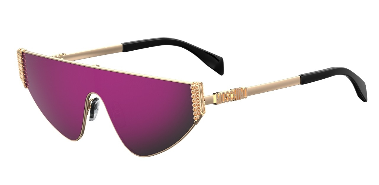 Moschino - Occhiale da Sole Donna, Flat Top Bijou Chain, Rose Gold/ Pink MOS022/S 000/VQ  C99