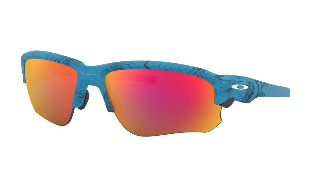 Oakley - Occhiale da Sole Uomo, Flak® Draft Aero Grid Collection, Aero Grid Sky/Ruby Iridium  OO9364 936410  C67