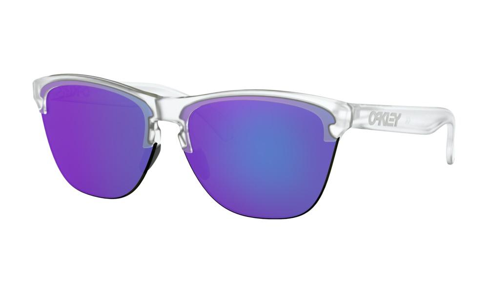 Oakley - Occhiale da Sole Uomo, Frogskins™ Lite, White Matte Clear/Violet Iridium  OO9374 937403  C63
