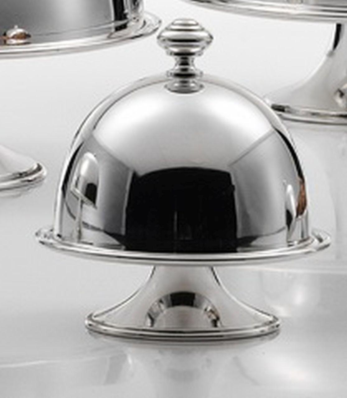 Alzata tonda in metallo placcato argento con cupola cm.13h diam.13
