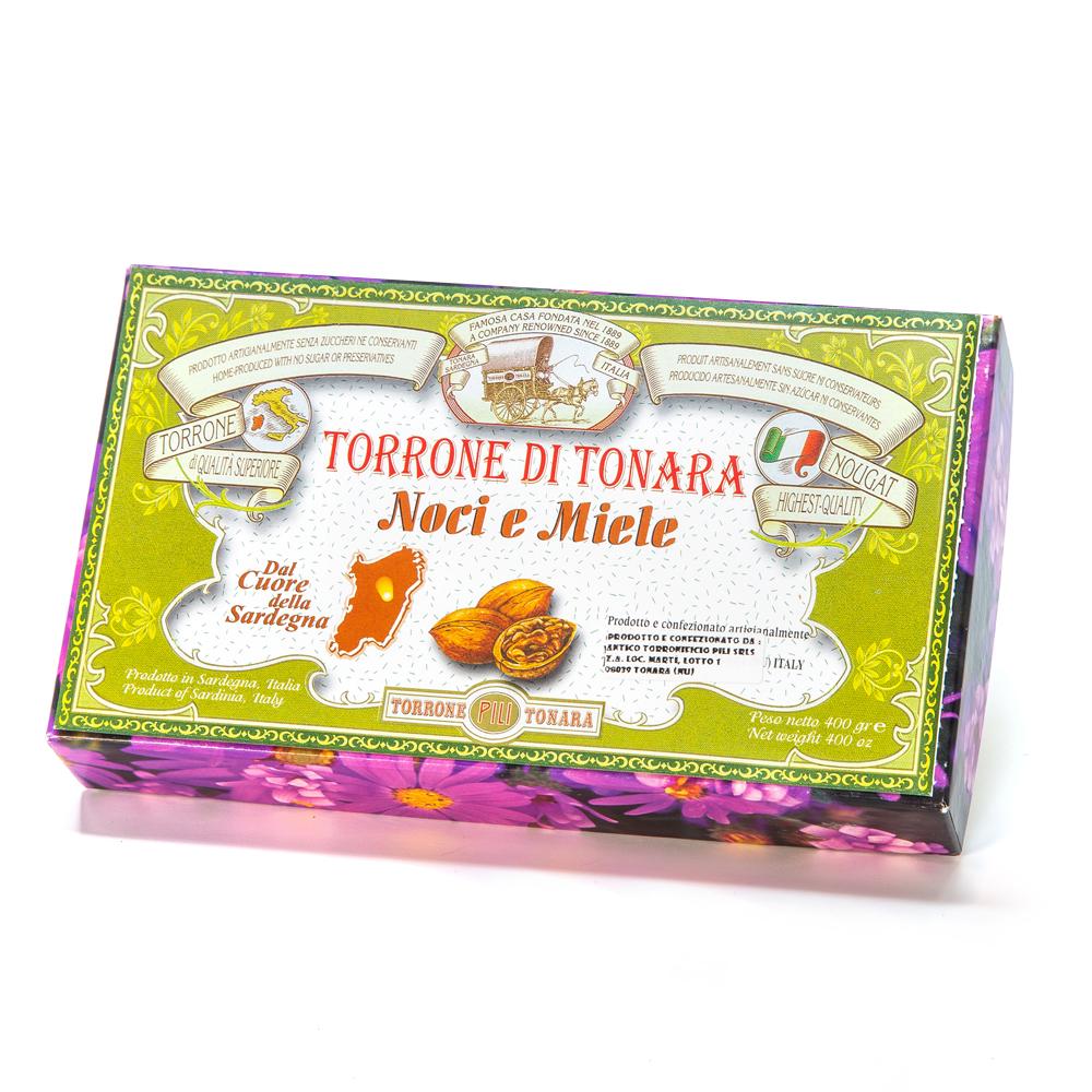 Scatola floreale torrone noci e miele 400 g