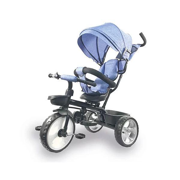 Triciclo da spingere per bambini IOS con parasole colore Celeste