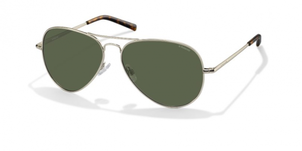 Polaroid - Occhiale da Sole Unisex, Light Gold/Green Shaded Polarized PLD 1017/S 3YG/H8  C60
