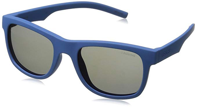 Polaroid - Occhiale da Sole Unisex Kids, Bluette/ Grey Mirror Polarized PLD 8020/S CIW/JY  C46