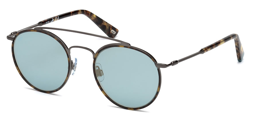 Web - Occhiale da Sole Uomo, Blonde Havana Ruthenium/Light Blue Gold Mirror WE0188 08X C51
