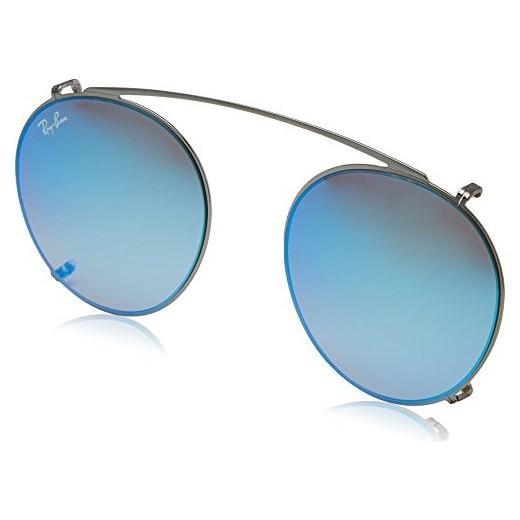 Ray-Ban - Clip-on Aggiuntivo per Occhiale Uomo, Ruthenium/Grey Blue Mirror RX2180V 2502/B7 C49