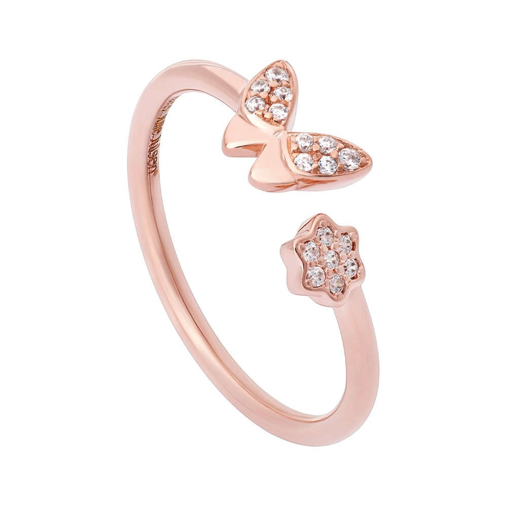 JULIE JULSEN FEELINGS, ANELLO, FARFALLA, ROSE DORATO, 17 ZIRCONIA