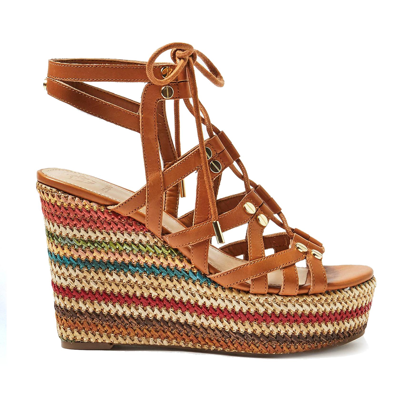 Sandalo intrecciato cuoio con zeppa Guess
