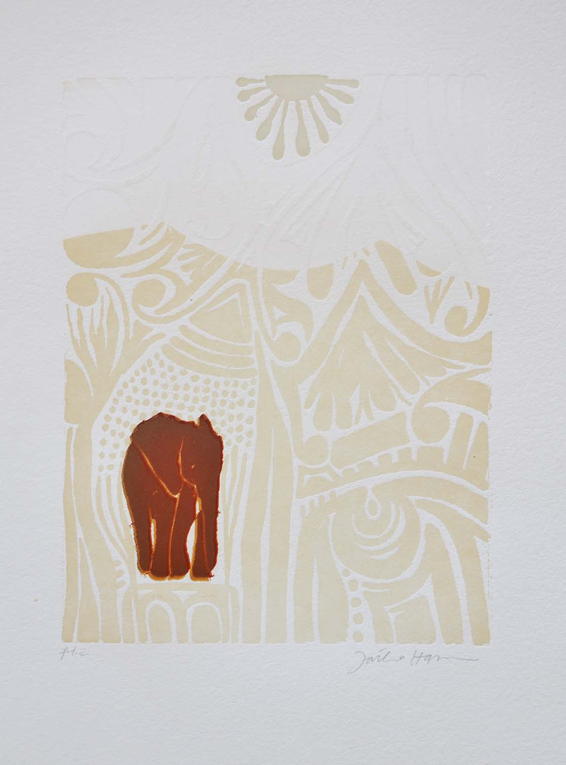 HASSAN FATHI, Africa I, Xilografia, Formato cm 70x50