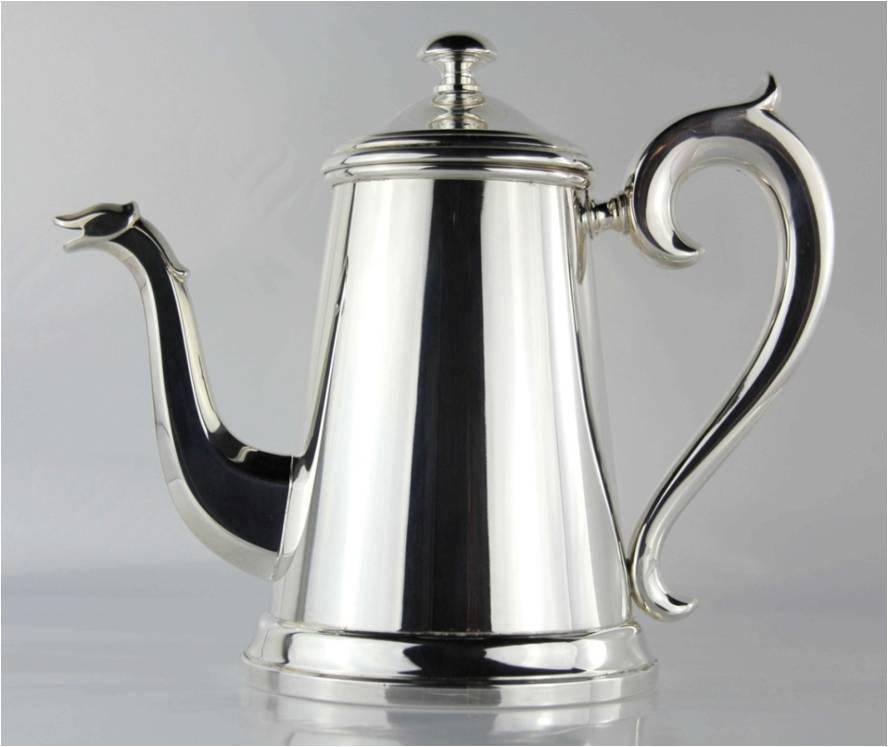 CAFFETTIERA GRANDE STILE INGLESE IN ARGENTO 800