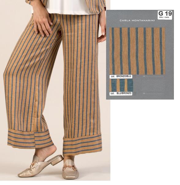 Pantalone con elastico gamba dritta e polso fondo