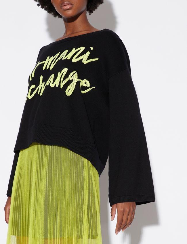 Pullover donna ARMANI EXCHANGE ampio nero-giallo fluo