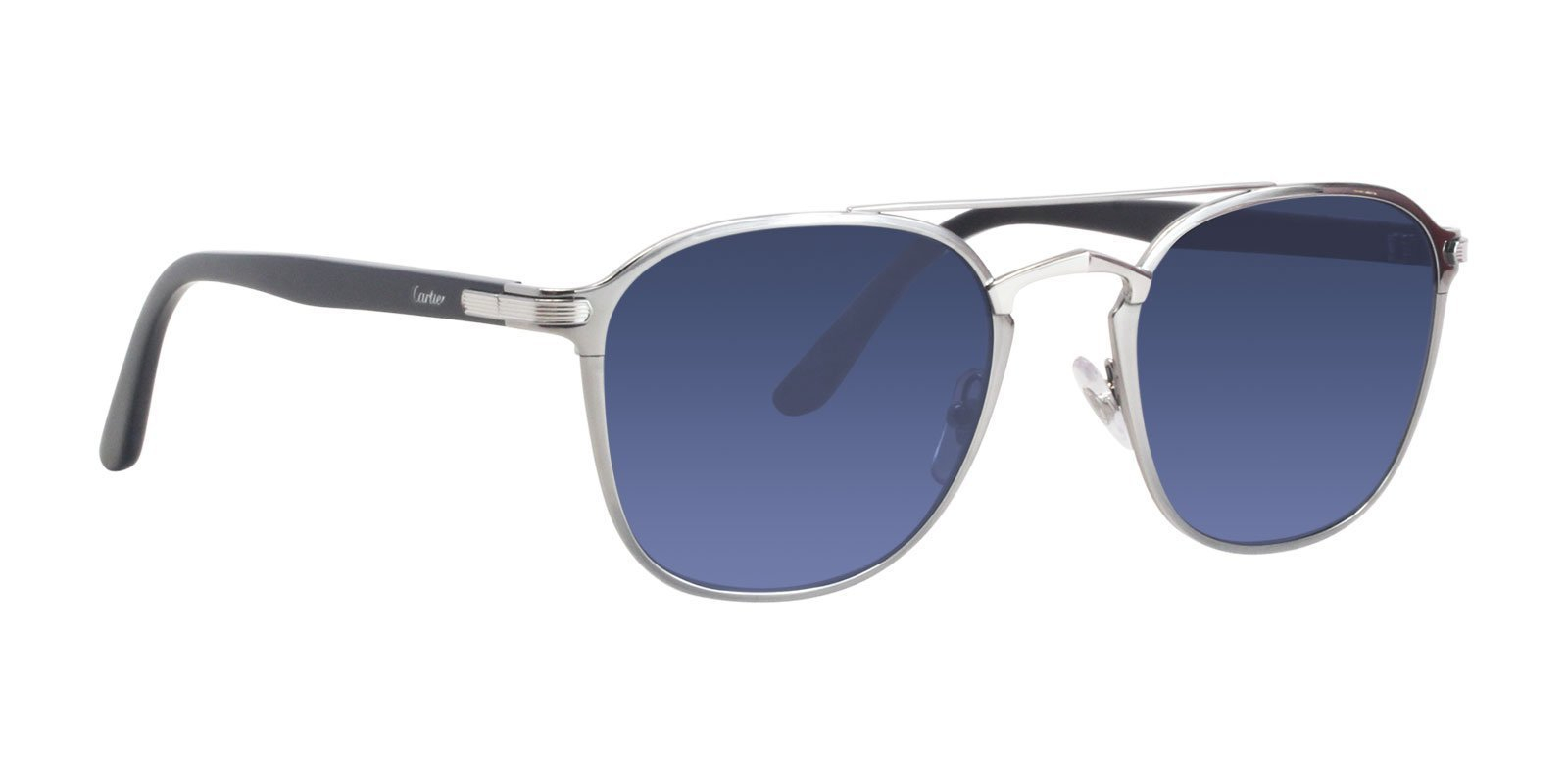 Cartier - Occhiale da Sole Uomo, Light Ruthenium Silver/Blue Shaded Mirror CT0012S 003  C54