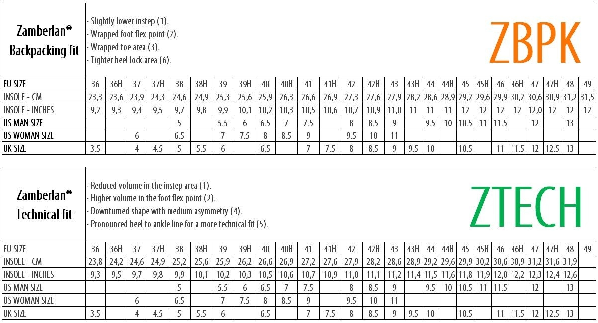 Size Charts Guide Zamberlan