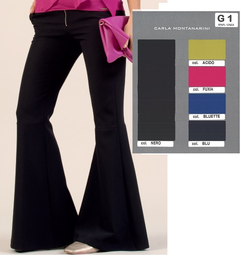 Pantalone tasche davanti e motivo a zampa fondo