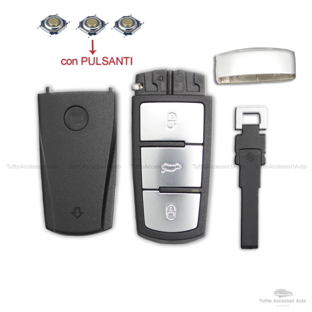 Guscio Scocca Volkswagen 3 Tasti Chiave Telecomando Vw Passat Touran Bora Con Tre Pulsanti Rifiniture Alluminio Cover Con Micro Pulsanti